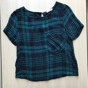 Plaid Cropped Style Short Sleeve Shirt